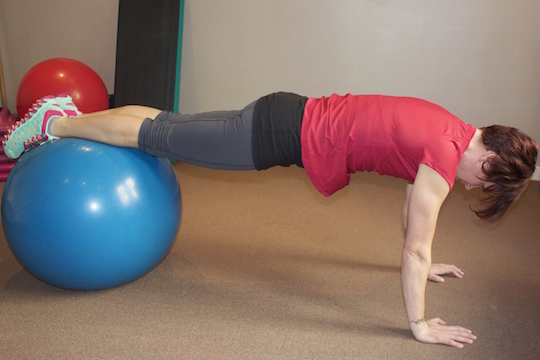 Push Up Hold (Starting Position) Core Ball Exercise Demonstrated by Vancouver Chiroprctor