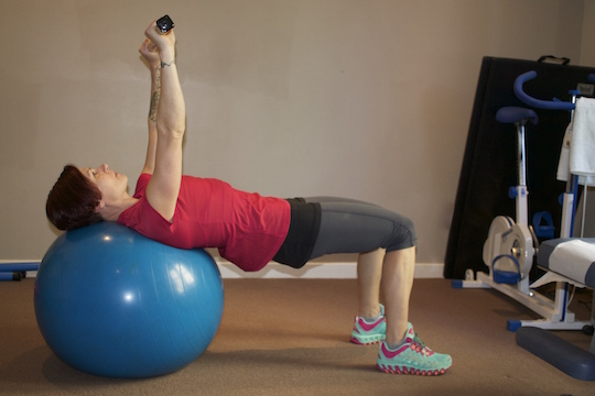 Supine Ball Bridge Performed by Vancouver Chiropractor